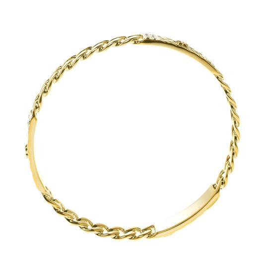 Chanel CC Crystal Textured Chain Link Gold Tone Bangle Bracelet Image 3