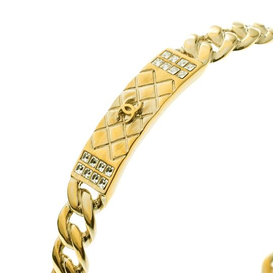 Chanel CC Crystal Textured Chain Link Gold Tone Bangle Bracelet Image 4