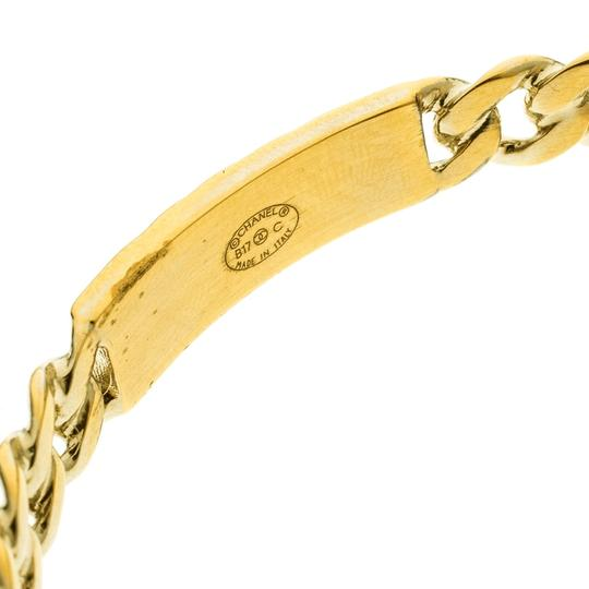 Chanel CC Crystal Textured Chain Link Gold Tone Bangle Bracelet Image 5