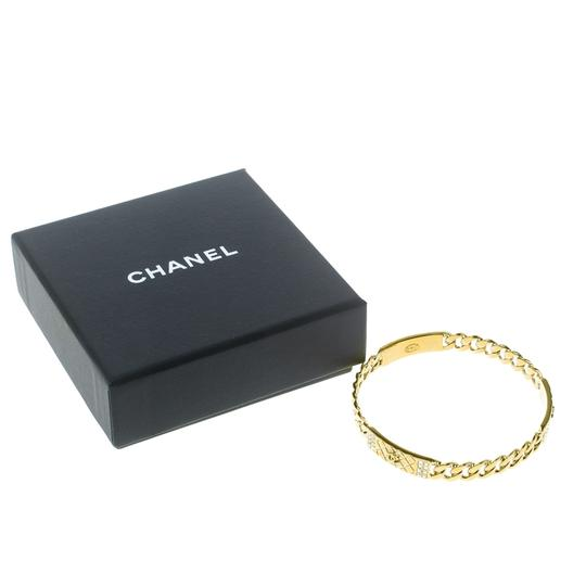 Chanel CC Crystal Textured Chain Link Gold Tone Bangle Bracelet Image 6