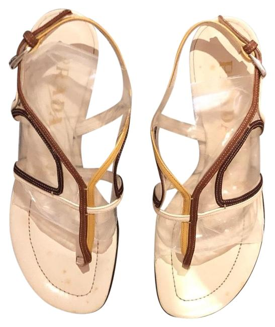 Item - Brown Yellow Cream Carolyn Bessette- Kennedy 90s Sandals Size EU 36 (Approx. US 6) Regular (M, B)