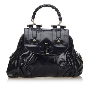 Gucci 9hgust001 Vintage Patent Leather Satchel in Black