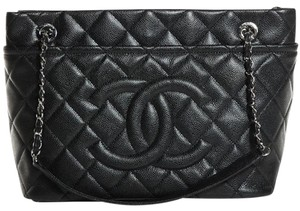 Chanel Gst Grand Shopping Cc Logo Timeless Classic Flap Tote in Black