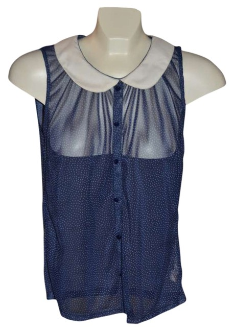 French Atmosphere Sheer Throughout Button-down Front Very Cute Atmosphere (uk/irl) Size 14 Top Navy with White Polka Dots and Colar
