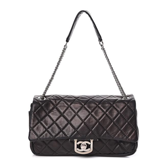 Item - Icons Secret Label Classic Quilted Flap Shw Jumbo Cc Logo 08c Black Silver Lambskin Leather Shoulder Bag