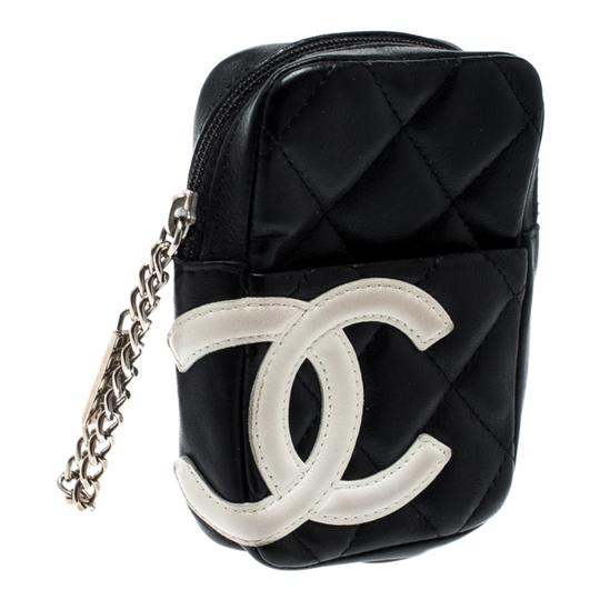 Chanel Black/White Quilted Leather Cambon Ligne Phone Case Image 2