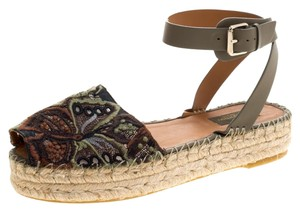 Valentino Embroidered Leather Ankle Strap Mesh Green Flats