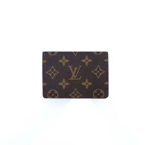 Louis Vuitton Porte 2 Cartes Vertical Monogram Canvas Leather Slim Credit ID Wallet