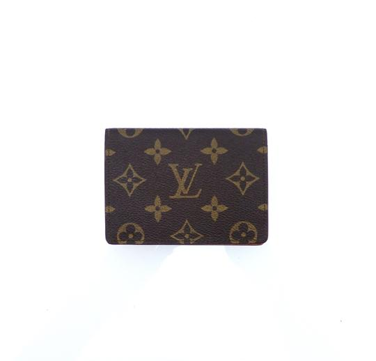 Louis Vuitton Porte 2 Cartes Vertical Monogram Canvas Leather Slim Credit ID Wallet Image 0