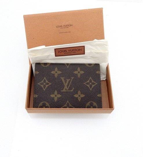 Louis Vuitton Porte 2 Cartes Vertical Monogram Canvas Leather Slim Credit ID Wallet Image 1