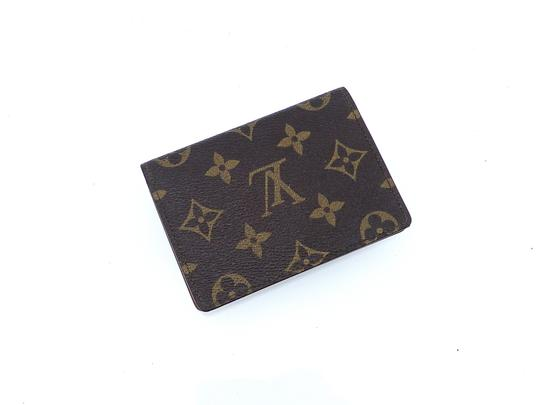 Louis Vuitton Porte 2 Cartes Vertical Monogram Canvas Leather Slim Credit ID Wallet Image 3
