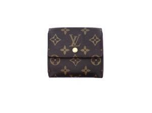 Louis Vuitton Monogram Canvas Leather Trifold Compact Clutch Wallet France