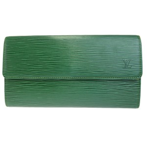 Louis Vuitton LOUIS VUITTON Long Credit Bifold Wallet Epi Leather Green
