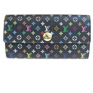 Louis Vuitton LOUIS VUITTON Sarah Long Bifold Wallet Monogram Multi Black