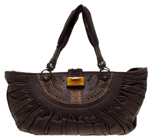 Dior Leather Pleated Tote in Brown