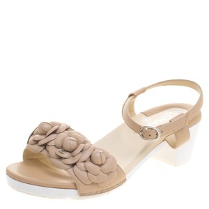 Chanel Leather Embellished Beige Sandals