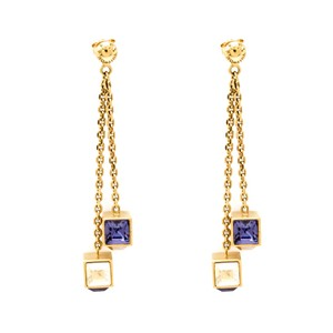 Louis Vuitton Gamble Crystal Gold Tone Long Dangle Earrings