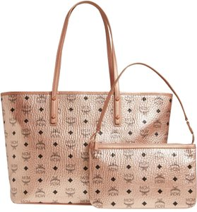 MCM Metallic Purse Tote in Rose Gold Champagne