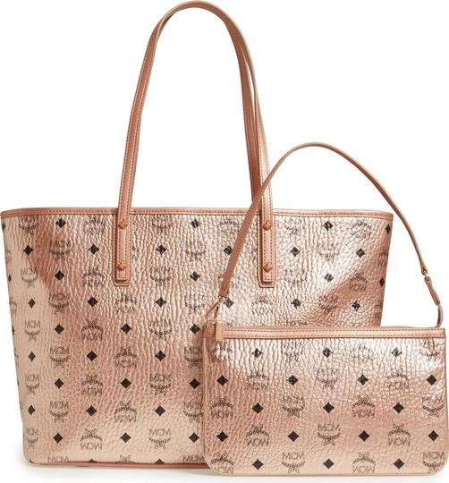MCM Metallic Purse Tote in Rose Gold Champagne Image 11