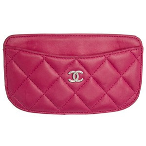 Chanel Pink Quilted Leather Card Holder