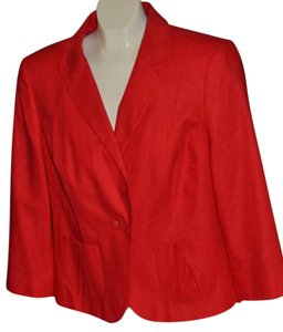 Marks & Spencer Tailored Linen Jacket & Uk Size 16 Color And White 2 Pockets In Front New Tags Red with polka dot lining Blazer