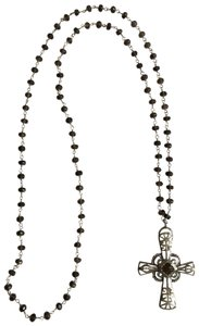 Silpada Silpada Sterling Silver Cross Religious Long Necklace Brown Glass Rosary Style Beads