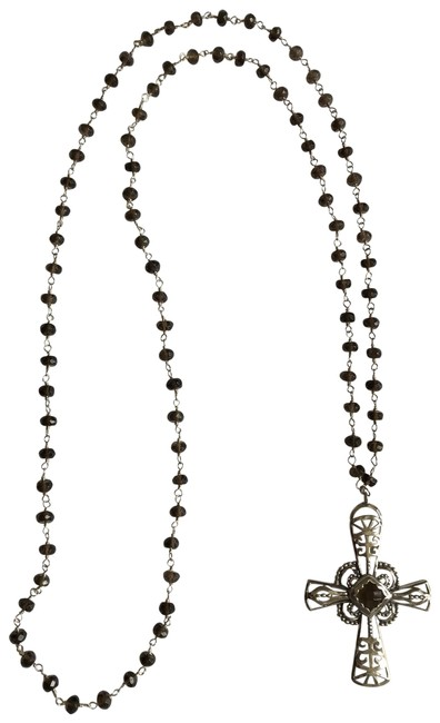 Item - Silver Brown Sterling Religious Long Glass Rosary Style Beads Necklace