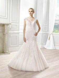 Moonlight Bridal Ivory/Taupe Beaded Lace and Tulle J1275 Sexy Wedding Dress Size 10 (M)