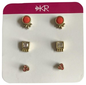 Silpada Silpada KR Collection Fashion Jewelry Gold Plated Earrings Coral Glass Clear Peach Crystal Stud Post
