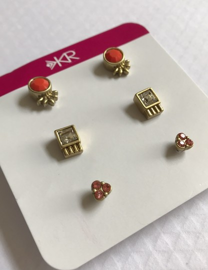 Silpada Silpada KR Collection Fashion Jewelry Gold Plated Earrings Coral Glass Clear Peach Crystal Stud Post Image 1