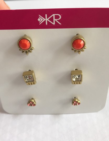 Silpada Silpada KR Collection Fashion Jewelry Gold Plated Earrings Coral Glass Clear Peach Crystal Stud Post Image 3