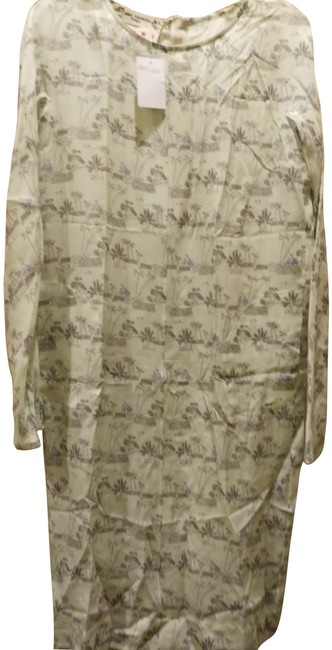 Item - Multiple 40 Made In Italy Palm Print Silk Shift Mid-length Work/Office Dress Size 4 (S)