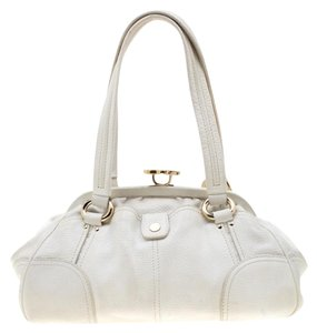 Céline Leather Satchel in White