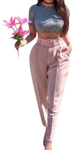 Zara Office Business Profesional Pleated Belted Trouser Pants pink