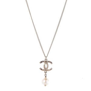 Chanel CHANEL Pearl Crystal CC Drop Necklace Light Gold