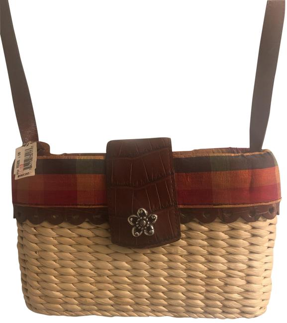 Brighton Straw with Red Orange and Green Plaid Cross Body Bag Brighton Straw with Red Orange and Green Plaid Cross Body Bag Image 1