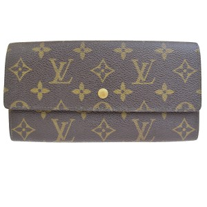 Louis Vuitton Auth LOUIS VUITTON Credit Long Bifold Wallet Purse Monogram Brown