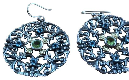 Other ornate sterling silver earrings with peridot and blue topaz Image 0