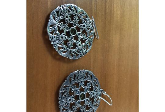 Other ornate sterling silver earrings with peridot and blue topaz Image 1