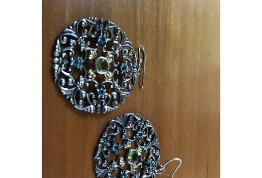 Other ornate sterling silver earrings with peridot and blue topaz Image 2