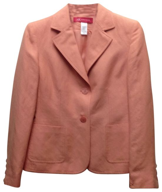 Preload https://item1.tradesy.com/images/anne-klein-peach-linen-blazer-buttons-lined-and-top-stitche-skirt-suit-size-4-s-25880-0-0.jpg?width=400&height=650