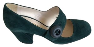 Prada Dark Green Suede Pumps