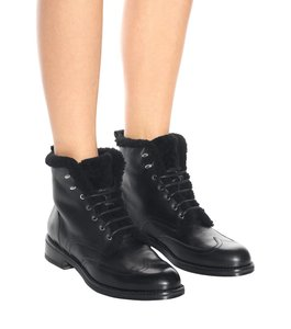 Rag & Bone Combat Blogger Luxury Black Shearling Lined Boots