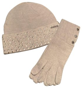 Michael Kors New Michael Kors Studded Silver Beanie Hat And Gloves Set