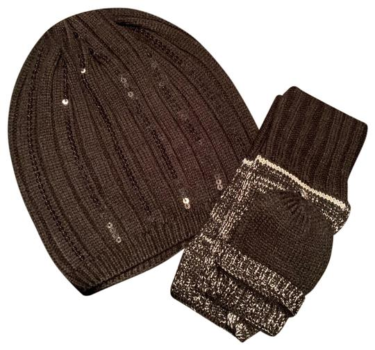 Michael Kors New Michael Kors Studded Black Sequin Beanie Hat And Gloves Set Image 0