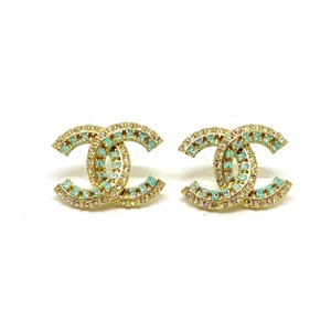 Chanel CHANEL Authentic Gold CC Rhinestone Light Blue Turquoise Resin Studs