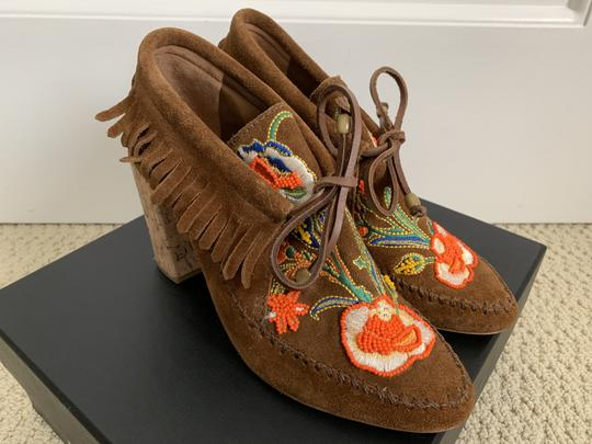 Tory Burch Suede Embroidered Beaded Fringe Brown Boots Image 1