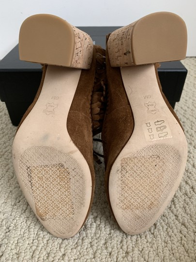 Tory Burch Suede Embroidered Beaded Fringe Brown Boots Image 10