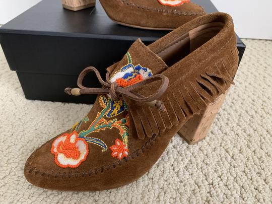 Tory Burch Suede Embroidered Beaded Fringe Brown Boots Image 11