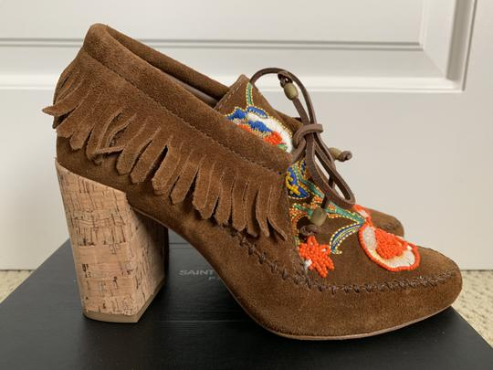 Tory Burch Suede Embroidered Beaded Fringe Brown Boots Image 2